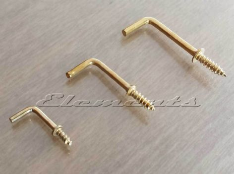 Brass Plated Shouldered L Shape Hooks with Screw